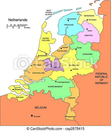 districts, entourer, pays-bas, administratif, pays - csp2878415