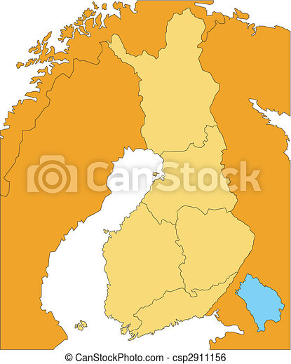 districts, pays, administratif, entourer, finlande - csp2911156