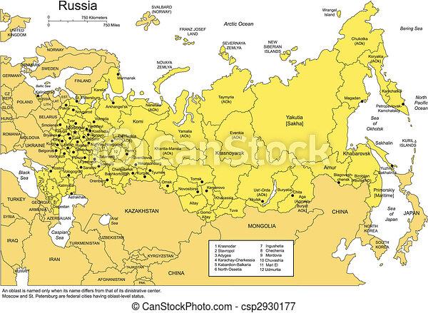 districts, russie, administratif, entourer, pays - csp2930177