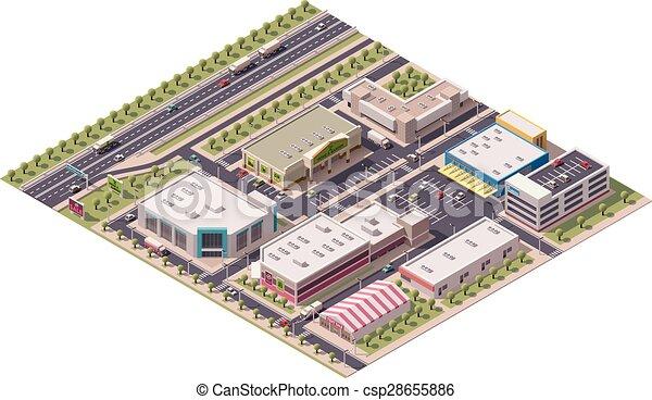 Vector isometrico distrito de compras - csp28655886