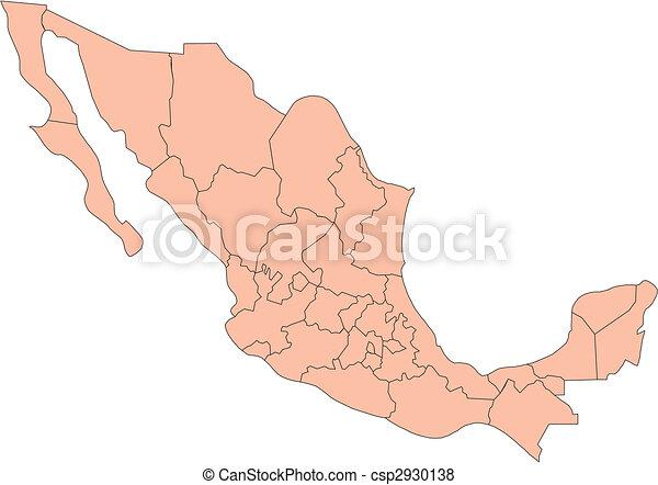 México con distritos administrativos - csp2930138