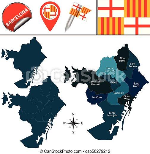 Distritos De Barcelona Mapa.Distritos Mapa Barcelona Mapa Nombrado Iconos Viaje