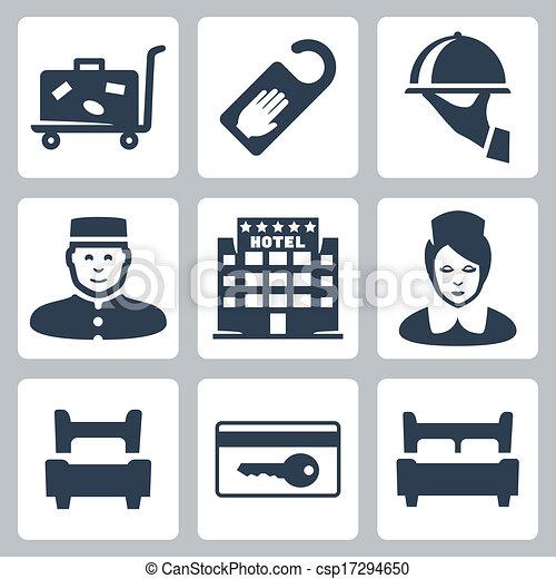 disturb', five-star, 手荷物, 印, 女中, 受付係, ホテル, ベッド, ベッド, ホテル, カード, 単一, ベクトル, キー, ダブル, ない, アイコン, 皿, カート, set:, 'do - csp17294650