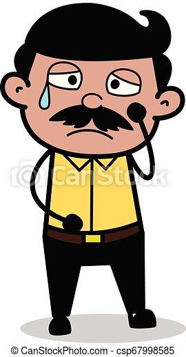 Disturbed - Indian Cartoon Man Father Vector Illustration - csp67998585