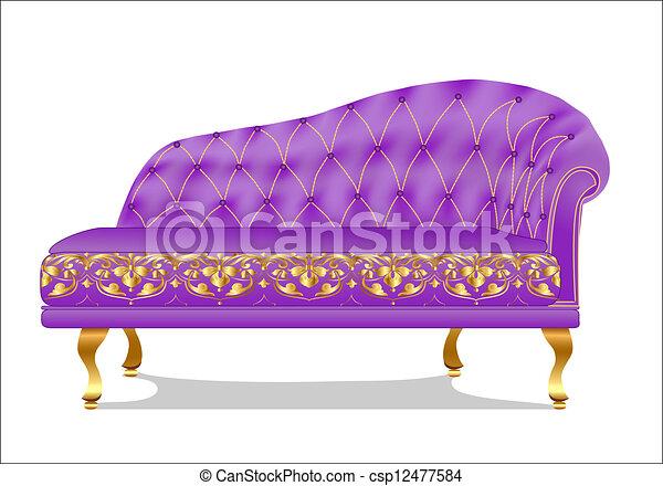 divan, vieux, sofa, isolé, blanc - csp12477584