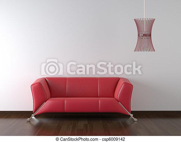 divano, parete, disegno, rosso, interno, bianco - csp6009142