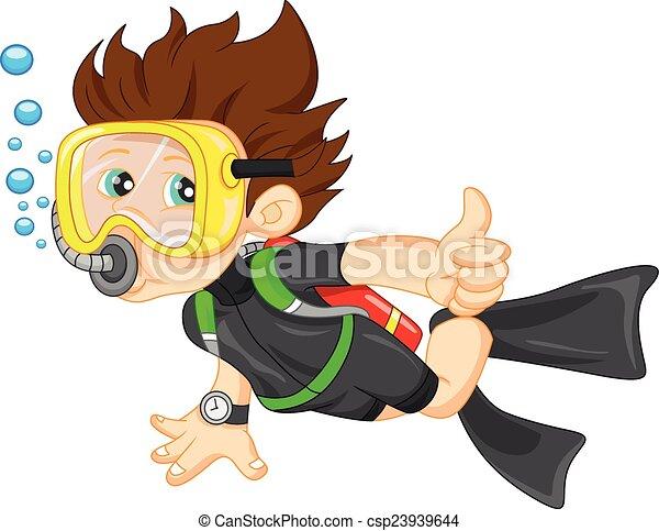 diver boy thumb up - csp23939644