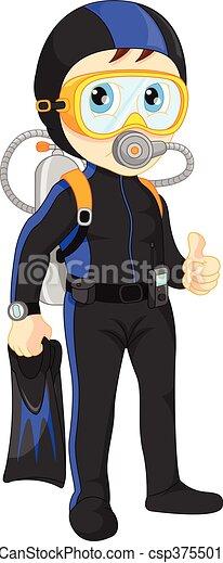 diver boy thumb up - csp37550147