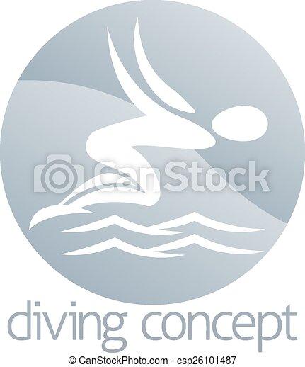 Diver swimming circle design - csp26101487