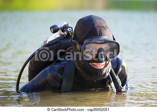 diver woman in the water - csp35052051