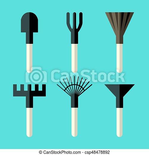 divers, ensemble, outils jardinage - csp48478892