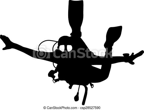 Buceadores de silueta negra. Ilustración. - csp28527590