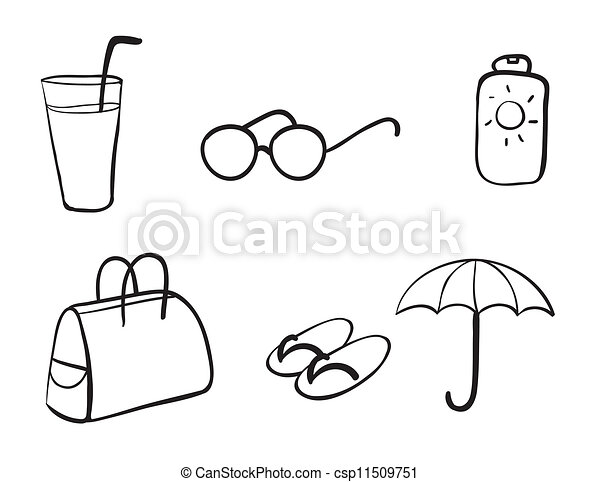divers objets plage illustration objets divers fond clipart vectoriel rechercher. Black Bedroom Furniture Sets. Home Design Ideas