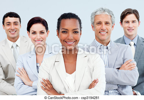 Diverse business people standing with folded arms  - csp3194281