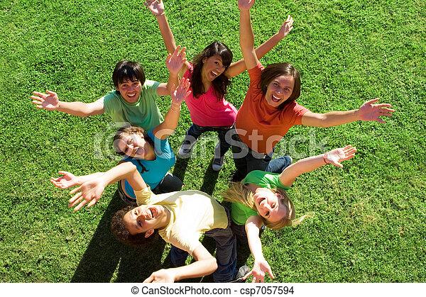 diverse group of happy teens - csp7057594