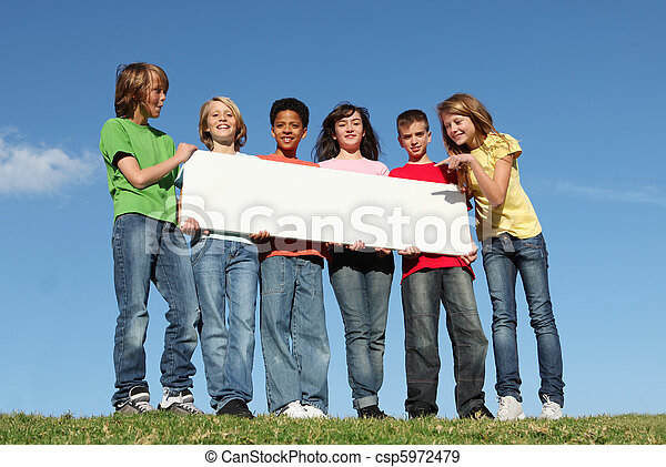diverse group of summer camp kids with sign - csp5972479