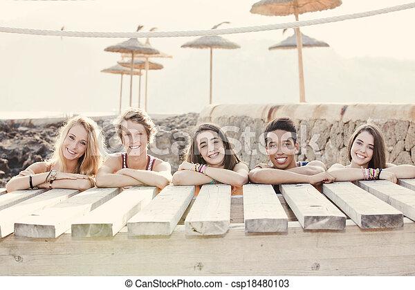 diverse group of summer kids - csp18480103