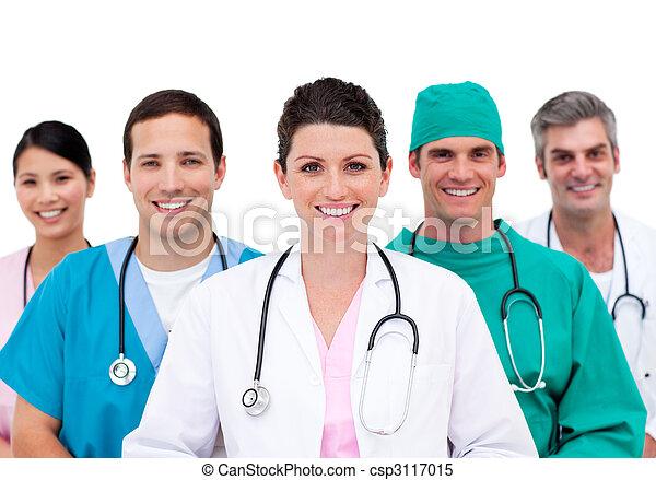 Diverse medical team in hospital - csp3117015