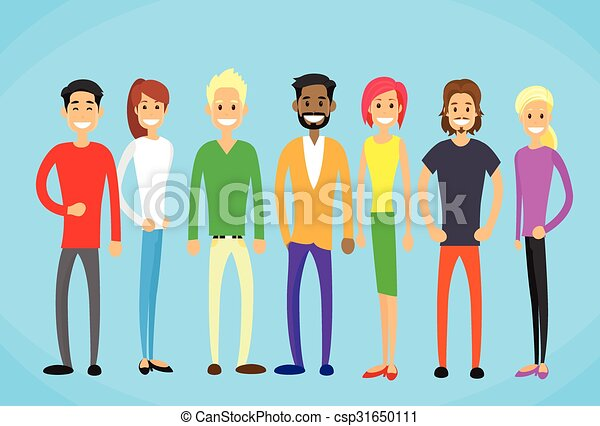 Diverse Mix Race Group People Casual Man and Woman Students  - csp31650111