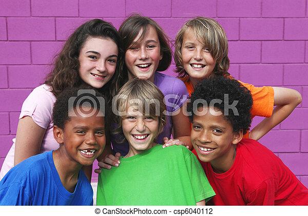diverse mixed race group of kids - csp6040112