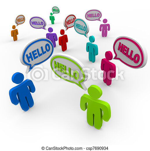 Diverse People Saying Hello Greeting in Speech Bubbles - csp7690934
