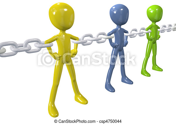 Diverse people unite in strong chain link group - csp4750044