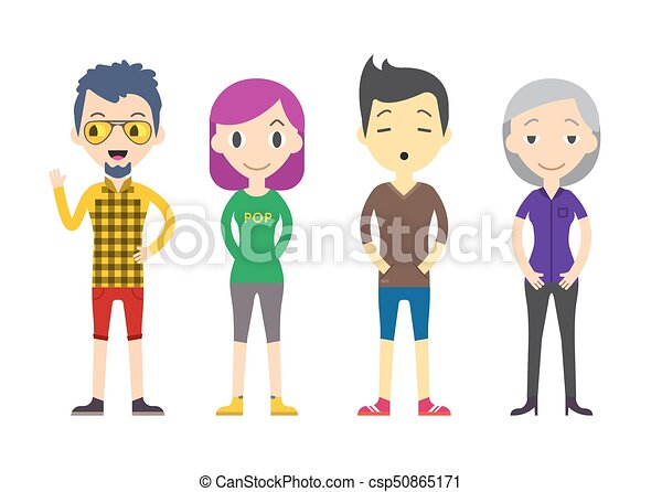 Line Art Illustration Style : Diverse vector people set. men and women different poses