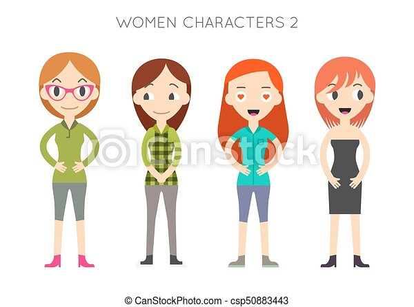 Diverse Vector People Set Women Different Poses Flat Cartoon Style