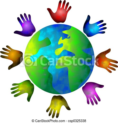 diverse world colourful hands circling the world rh canstockphoto com