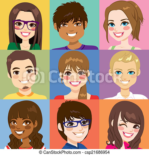 Diverse Young People Faces - csp21686954