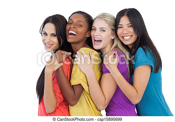 Diverse young women laughing at camera and embracing - csp15895699