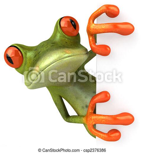 Una rana divertida con una señal en blanco - csp2376386