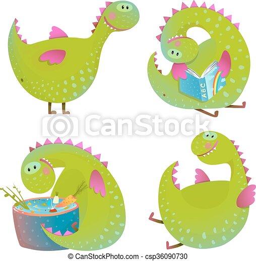 Una serie de divertidos dragones de dibujos animados - csp36090730