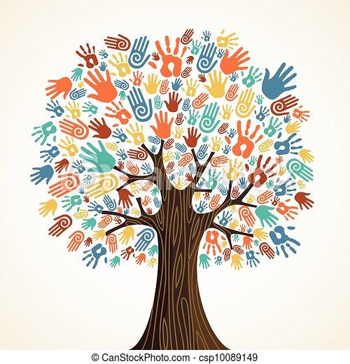 diversidad, árbol, aislado, manos - csp10089149