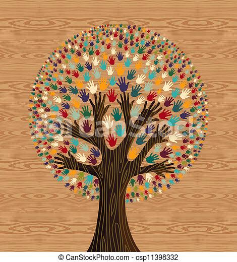 Diversidad Tree entrega el patrón de madera - csp11398332