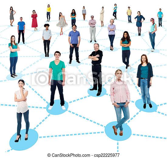 Gente diversificada haciendo contactos - csp22225977