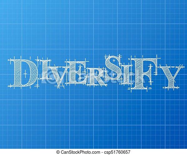 Diversify word blueprint diversify text hand drawn on blueprint diversify word blueprint csp51760657 malvernweather Gallery