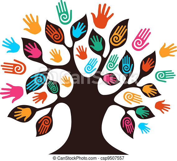 diversità, albero, isolato, mani - csp9507557