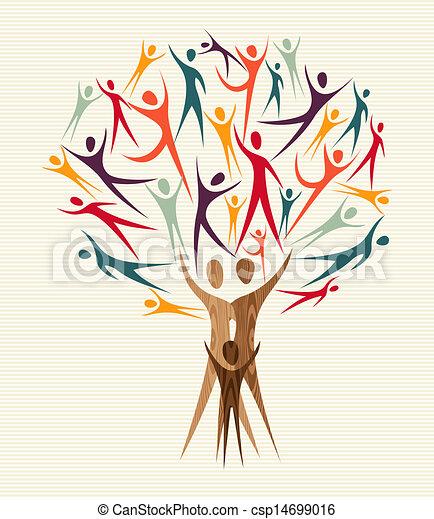 diversité, ensemble, arbre, gens - csp14699016