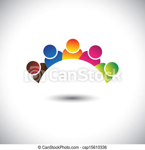diversity-, 表しなさい, オフィス, 多様性, graphic., 共同体, スタッフ, &, 統一, 従業員, executives(employees), 幸せ, プレーしなさい, カラフルである, イラスト, 統一, メンバー, 子供, 子供, 学校, これ, ∥など∥, ベクトル, 缶 - csp15610336