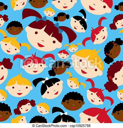Diversity children faces pattern - csp10925788