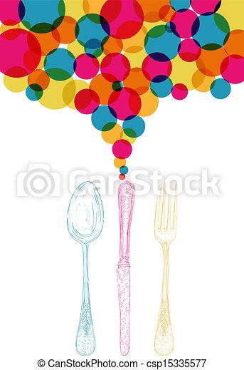 Diversity colors retro cutlery sketch style  - csp15335577