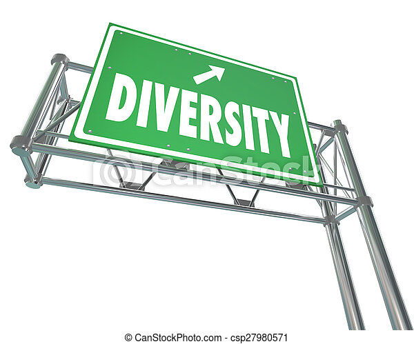 Diversity Freeway Green Exit Sign Route to Peace Harmony Acceptance - csp27980571