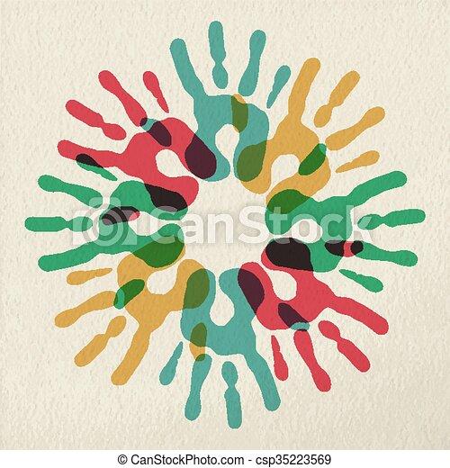 Diversity group of hands teamwork color concept - csp35223569