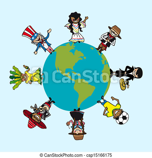 Diversity people cartoons over world map - csp15166175