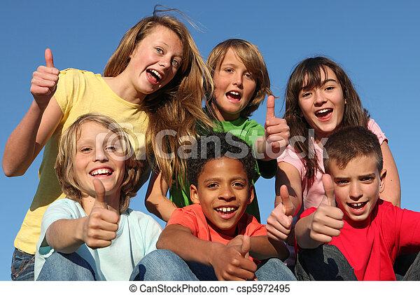 diverso, grupo, carrera, niños - csp5972495