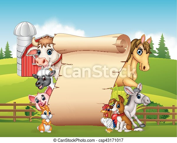 divertente, animali, fattoria, segno, vuoto, cartone animato - csp43171017