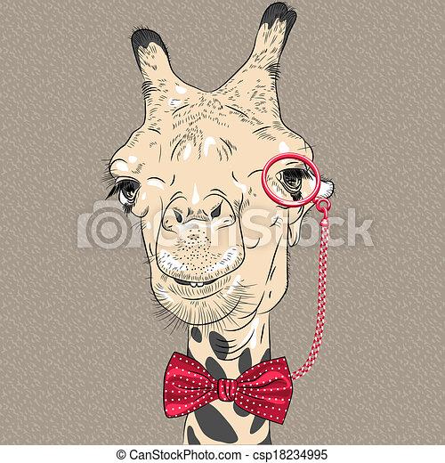 divertente, cammello, vettore, closeup, ritratto, hipster - csp18234995