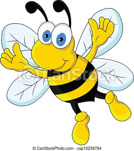 divertente, carattere, cartone animato, ape - csp10239764