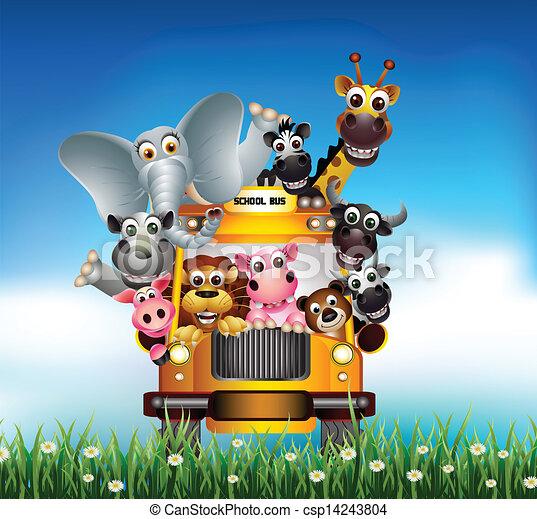 divertente, cartone animato, animale, macchina gialla - csp14243804